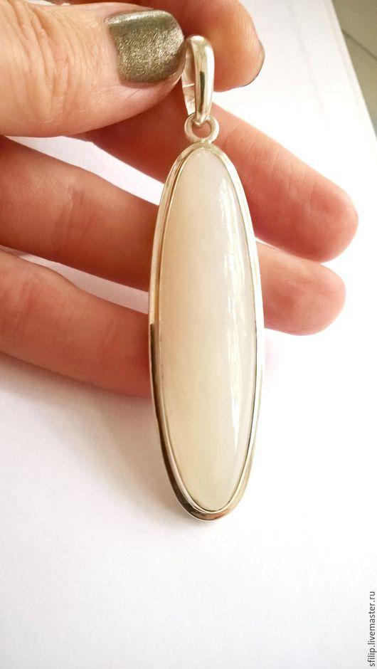 Кольца ручной работы. Ярмарка Мастеров - ручная работа. Купить Кулон белый нефрит,серебро 925 пробы. Handmade. Белый