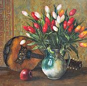 Картины и панно handmade. Livemaster - original item Tulips and mandolin. Oil on canvas. 2018. Handmade.