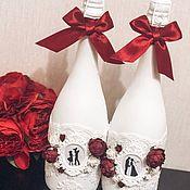 Бутылки ручной работы. Ярмарка Мастеров - ручная работа Свадебное шампанское. Handmade.