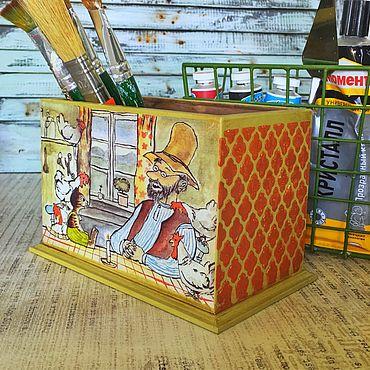 Для дома и интерьера ручной работы. Ярмарка Мастеров - ручная работа Подставка под карандаши- карандашница декупаж Финдус и Петсон. Handmade.