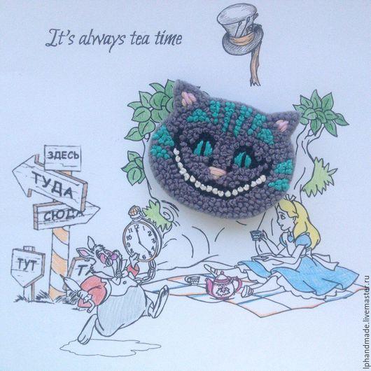 Броши ручной работы. Ярмарка Мастеров - ручная работа. Купить Брошь Чеширский Кот из Алисы в Стране Чудес. Handmade. Комбинированный