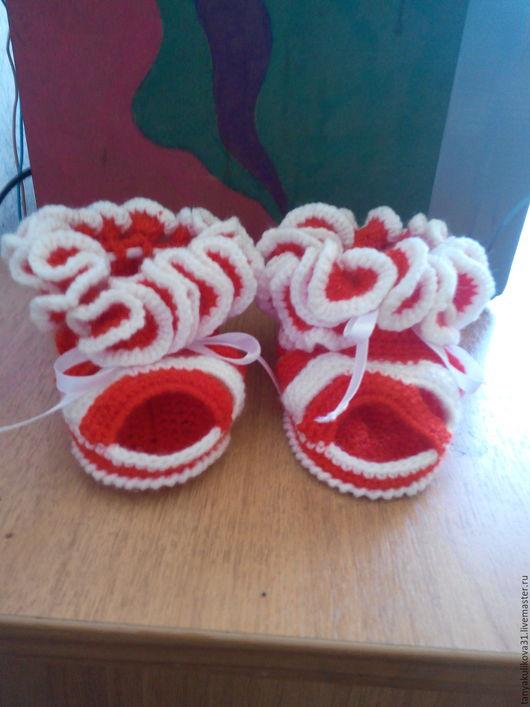 Детская обувь ручной работы. Ярмарка Мастеров - ручная работа. Купить пинетки-сандали. Handmade. Ярко-красный, девочка, лето