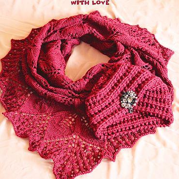 Аксессуары handmade. Livemaster - original item Set knitted Spanish Wine, turban and shawl. Handmade.