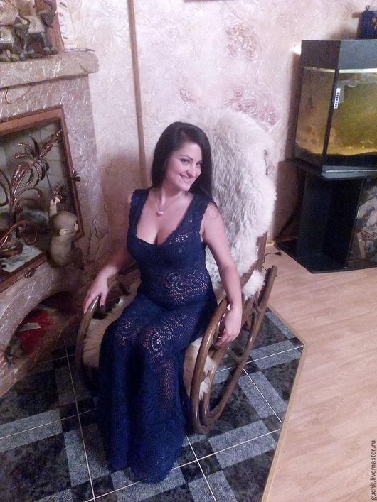 """Платья ручной работы. Ярмарка Мастеров - ручная работа. Купить платье""""Элегия"""". Handmade. Однотонный, тёмно-синий, натуральное"""