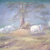 Картины и панно ручной работы. Ярмарка Мастеров - ручная работа Картина пастелью Овечки в тумане. Handmade.