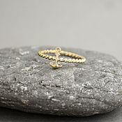 Украшения ручной работы. Ярмарка Мастеров - ручная работа Плетеное золотое кольцо с якорем, желтое золото 585 пробы. Handmade.