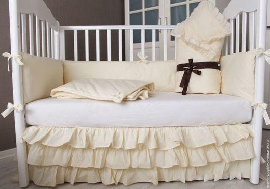 Детская ручной работы. Ярмарка Мастеров - ручная работа. Купить Комплект детского постельного белья в кроватку. Handmade. Бежевый