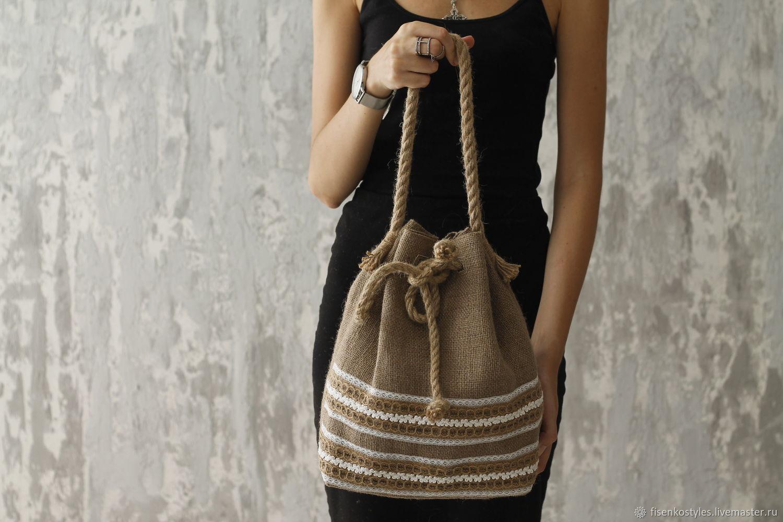Эко-сумка из джутовой ткани с плетением и кружевами_Fisenko brand