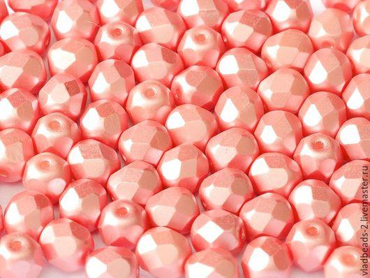 Для украшений ручной работы. Ярмарка Мастеров - ручная работа. Купить Бусины 6мм чешские стеклянные Alabaster Pastel Light Coral. Handmade.