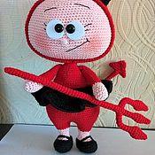 Мягкие игрушки ручной работы. Ярмарка Мастеров - ручная работа Бонни в костюме дьяволенка. Handmade.