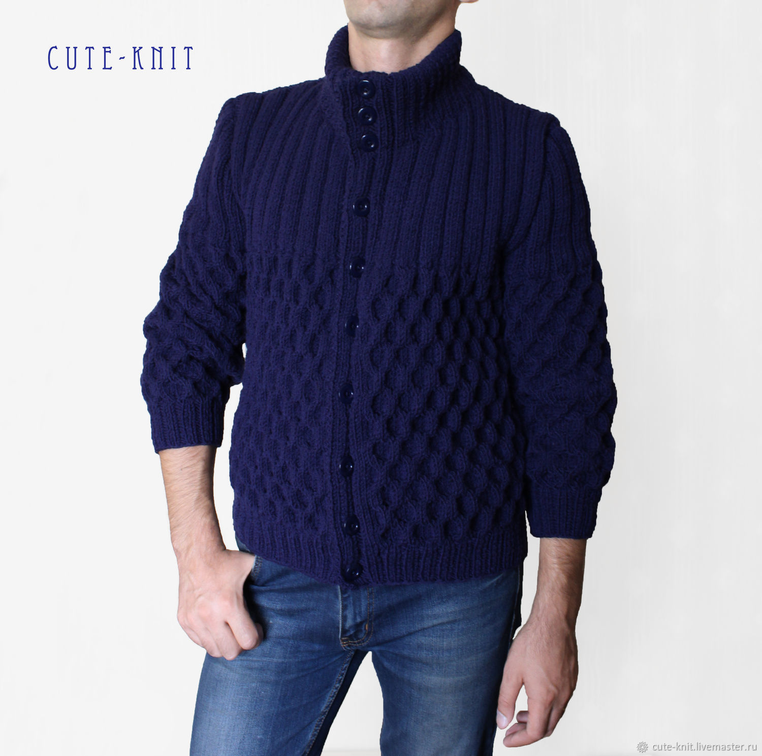 Cardigan mens knitted buttoned – shop online on Livemaster with ...