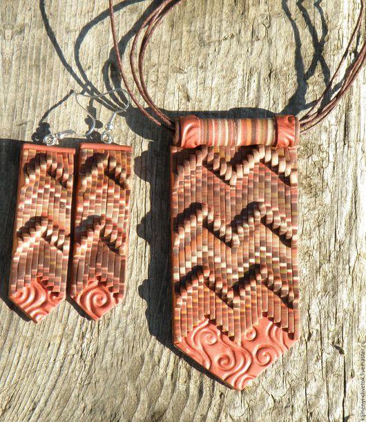 Комплекты украшений ручной работы. Ярмарка Мастеров - ручная работа. Купить Кулон и серьги  в стиле Бохо в коричневых оттенках. Handmade.