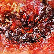 Картины и панно handmade. Livemaster - original item Large abstract art  Dance of Fire, original abstract red painting. Handmade.