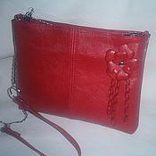 Сумки и аксессуары handmade. Livemaster - original item Clutch leather red