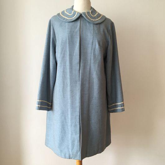 Одежда. Ярмарка Мастеров - ручная работа. Купить Винтажное пальто 1950-х годов. Handmade. Голубой, пальто женское, антиквариат