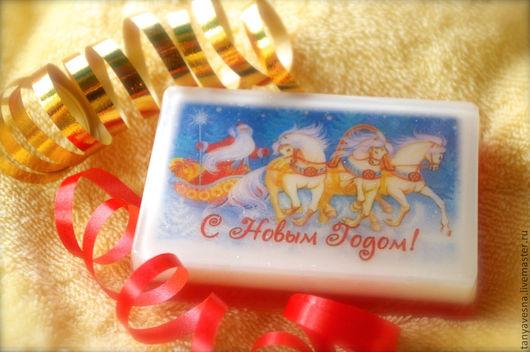 Новый год 2017 ручной работы. Ярмарка Мастеров - ручная работа. Купить Мыло Дед Мороз и тройка лошадей, в подарочной коробочке. Handmade.