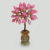Фен-шуй и эзотерика ручной работы. Ярмарка Мастеров - ручная работа Дерево любви из бисера и розового агата в вазочке из оникса. Handmade.