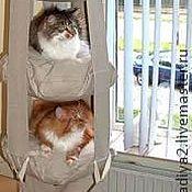 Для домашних животных, ручной работы. Ярмарка Мастеров - ручная работа Кошачья трапеция -  подвесной гамак для кошек из ткани. Handmade.