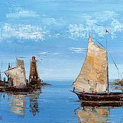 Картины и панно ручной работы. Ярмарка Мастеров - ручная работа Картина Море, лодки, парус (маяк). Handmade.
