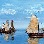 Картины и панно handmade. Livemaster - original item Painting the Sea, boats, sailing (lighthouse). Handmade.