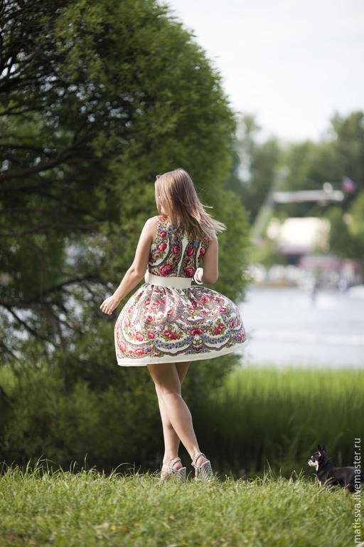 Платья ручной работы. Ярмарка Мастеров - ручная работа. Купить Платье из павлопосадских платков.. Handmade. Разноцветный, павловопосадский платок