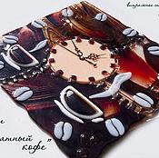 """Для дома и интерьера ручной работы. Ярмарка Мастеров - ручная работа Часы """"Ароматный кофе"""", стекло, фьюзинг. Handmade."""