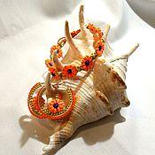 Украшения handmade. Livemaster - original item kit: Bracelet and earrings with orange flowers. Handmade.