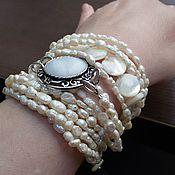 Украшения handmade. Livemaster - original item bracelet of natural pearls multi-row.. Handmade.