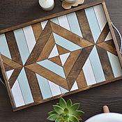 Подносы ручной работы. Ярмарка Мастеров - ручная работа Поднос геометричный для сервировки из дерева. Handmade.
