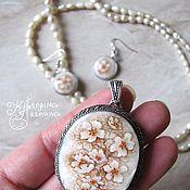 Украшения handmade. Livemaster - original item Set with painted mother-of-pearl