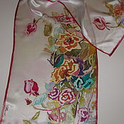 Scarves handmade. Livemaster - original item Scarf batik Bouquet. 100% natural silk satin. Handmade.