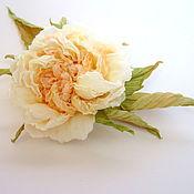 """Броши ручной работы. Ярмарка Мастеров - ручная работа Шелковые цветы. Пионовидная роза """"Мелани"""". Handmade."""