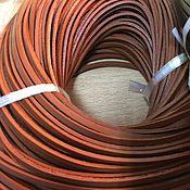 Материалы для творчества ручной работы. Ярмарка Мастеров - ручная работа Шнур кожаный 2х3 мм ,  рыжий. Handmade.