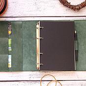 Канцелярские товары handmade. Livemaster - original item Diary A5 leather ring dark green. Handmade.