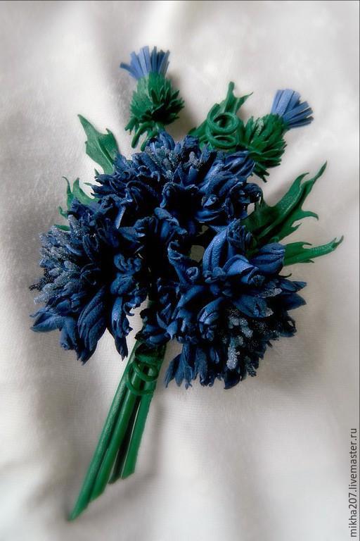 """Цветы ручной работы. Ярмарка Мастеров - ручная работа. Купить Букетик васильков """"Cornflower blue"""" из итальянской кожи.. Handmade."""