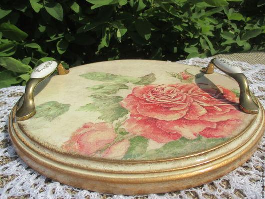 Кухня ручной работы. Ярмарка Мастеров - ручная работа. Купить Поднос винтажный с розой. Handmade. Бежевый, поднос для кухни