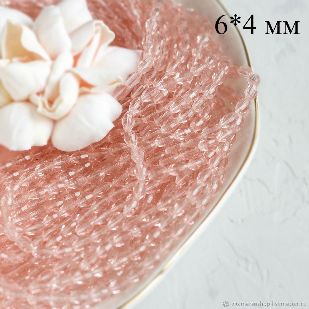 Хрустальные бусины Оливка розовые 6х4 мм, Бусины, Москва, Фото №1