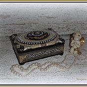 """Для дома и интерьера ручной работы. Ярмарка Мастеров - ручная работа Шкатулка """"Чёрно-золотой винтаж"""". Handmade."""