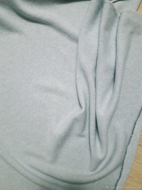 Трикотаж вязаный нежно-голубой, 100% кашемир, Италия, Ткани, Королев,  Фото №1
