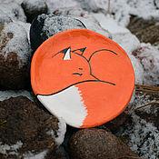 Посуда handmade. Livemaster - original item Sleeping Fox plate. Handmade.