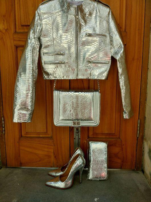 Верхняя одежда ручной работы. Ярмарка Мастеров - ручная работа. Купить Комплект серебро. Handmade. Куртка из кожи питона, туфли