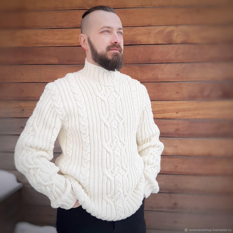 Мужской вязаный свитер с аранами. Белый мужской свитер с воротником, Свитеры мужские, Москва,  Фото №1