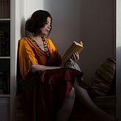 Одежда ручной работы. Ярмарка Мастеров - ручная работа Халат кимоно с воланом Градиент.. Handmade.