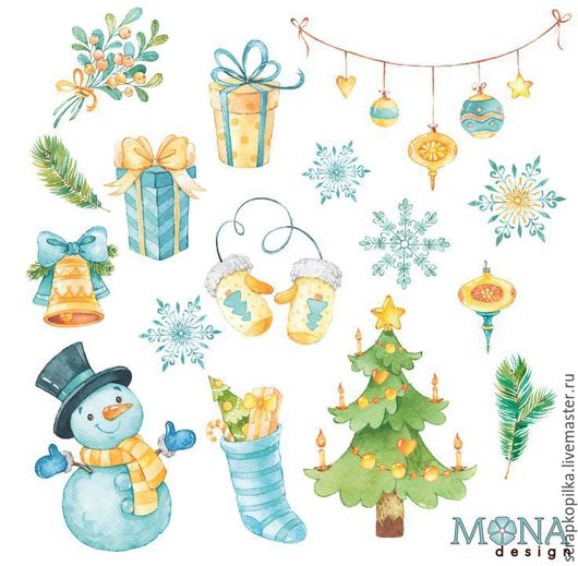 Набор высечек  для скрапбукинга `Новый год` МонаДизайн