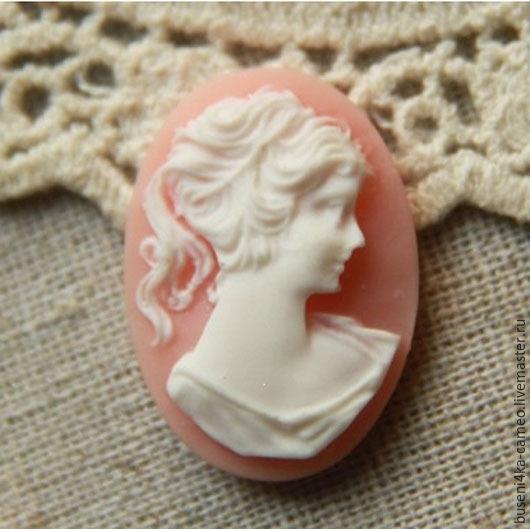 Для украшений ручной работы. Ярмарка Мастеров - ручная работа. Купить Камея Дама классическая, розовая 13х18мм (пластик) 1шт.. Handmade.