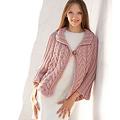 Одежда handmade. Livemaster - original item Light Pink Poncho Sweater Loose Knit Poncho Cape Cable Knit Poncho. Handmade.