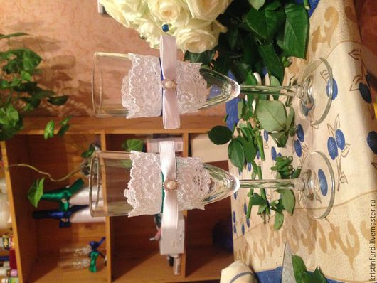 Свадебные аксессуары ручной работы. Ярмарка Мастеров - ручная работа. Купить Свадебные бокалы и бутылки. Handmade. Болотный, бутылки для свадьбы