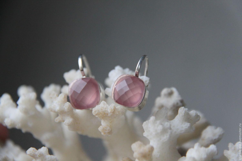 Серьги ручной работы. Ярмарка Мастеров - ручная работа. Купить Серьги с розовым кварцем (возможны варианты с другими камнМи). Handmade.