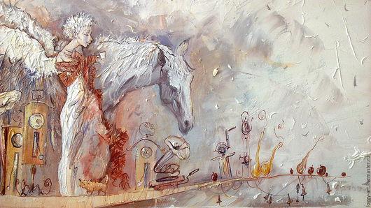 """Символизм ручной работы. Ярмарка Мастеров - ручная работа. Купить """"По реке снов"""". Handmade. Бежевый, Ангел хранитель, кот"""