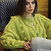 Одежда handmade. Livemaster - original item Jerseys: Women`s large knit sweater color olive oversize. Handmade.